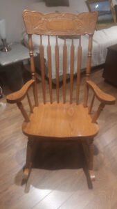 Oak Rocking Chair With Pressed Back Design Canadian Made $100