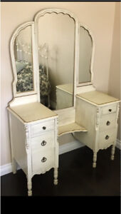 Antique French Provincial Vanity Dresser with Stool