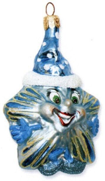 Slavic Treasures BLUE HAPPY STAR Polish Glass Ornament Retired!