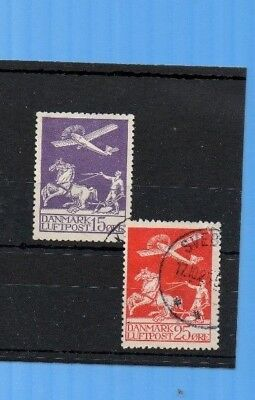 DENMARK 1925 AIRS FINE USED. 15o LILAC + 25o RED CAT £160