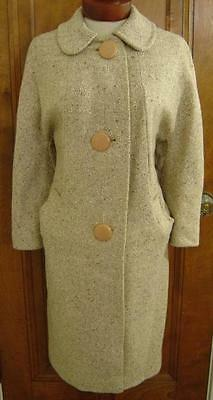 VINTAGE 1960s BROWN & IVORY TWEED WOOL LUCITE BUTTON ROCKABILLY MOD FASHION COAT