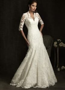 New lace White/Ivory Half Sleeve Bridal Gown Wedding Dresses Size:2-28