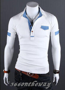 Mens Stylish Casual Slim Fit  Short Sleeve Polo Shirt T-shirts Tee Shirt E651