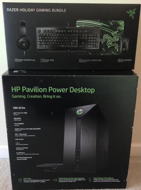 NEW HP Pavilion Power 580-023w Gaming Tower + Razer 4-Piece