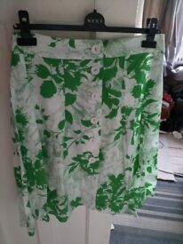 Atmosphere White & Green Floral Button Down Skirt