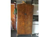 Stunning vintage wardrobe: solid wood with walnut veneer finish