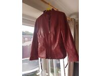 Real Red Leather Jacket , small size 12 (more like size 10)