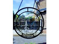 2 Round Stained Glass Window Hanging Plaques
