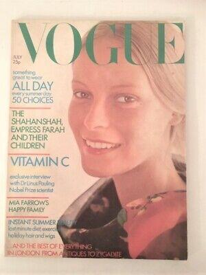 Vintage Vogue 1971.Mia Farrow.Cecil Beaton.Hollywood.Kansai Yamamoto.Glamour