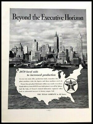 1937 Texaco New York City Skyline Vintage Advertisement Print Art Ad Poster LG90