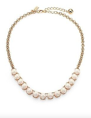 Kate Spade Gold Plate Squared Away Faux Pearl Necklace WBRU8820 New 098686532199