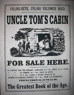 "(083) SLAVERY UNCLE TOMS CABIN BOOK PROMOTIONAL OLD WEST BROADSIDE 11""x14"""