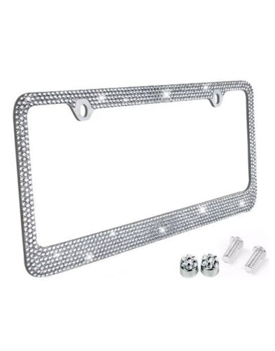 Metal License Plate Frame Bling RhineStones Chrome Swarovski Crystal Diamond