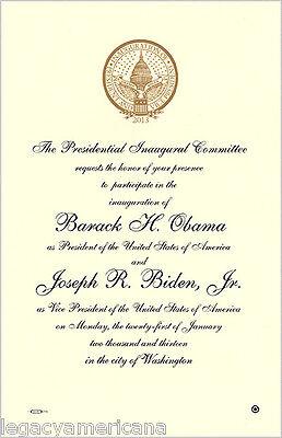 2013 Obama Biden Official Inauguration Invitation (4912)