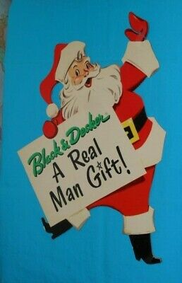 vintage BLACK & DECKER Santa Claus Christmas RETAIL STORE DISPLAY SIGN ()
