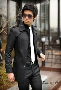 New Mens Casual Slim Fit Front Button Stylish Fashion Trench Coat 2 color 4 size