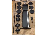 Adidas gym bench + 50kg Dumbbells free weights + Bar - As good as New!!!