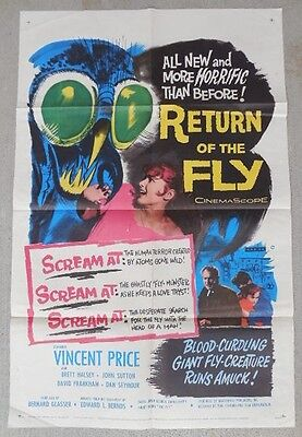 """Original Unrestored Movie Poster Return of the Fly 1959 One Sheet (27"""" X 41"""")."""