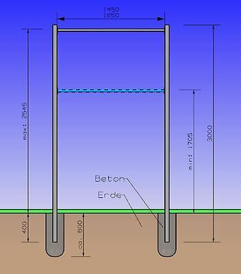 Turnreck 3 Meter Verzinkt Turnstange Reckstange 1,65 Meter aus Edelstahl