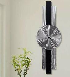MODERN DESIGN - Metal Wall Clock Art BRILLIANT Silver Black Decor by Jon Allen