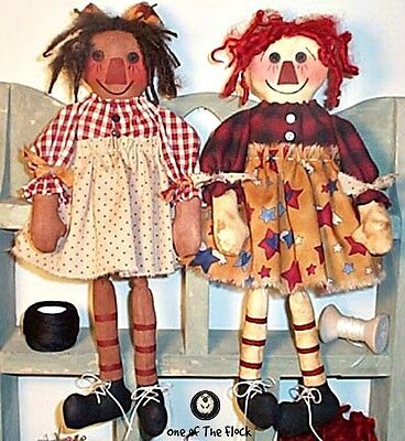 Primitive Raggedy Ann & Beliny Dolls Sewing Pattern For Both Dolls Sitter Type