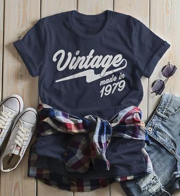 Women's Vintage T Shirt 1979 Birthday Made In Shirt 40th Birthday Tee Retro Gift