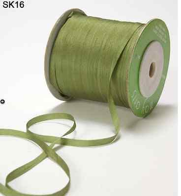 (1/8 Inch Silk Ribbon - May Arts - SK16 - Olive Green - 5 yards)