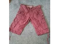 883 police size 32 waist burnt red/rust colour cargo shorts