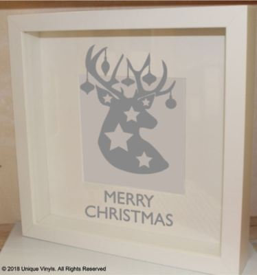 Merry Christmas with Reindeer - Vinyl Sticker for Box Frame - Christmas Decor (Reindeer Decorations For Christmas)