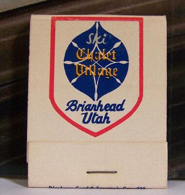Vintage Matchbook P1 Briarhead Utah Ski Chalet Village Lovely Font Design Winter