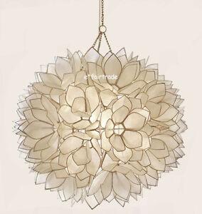 pottery barn capiz flower pendant chandelier new capiz lighting fixtures