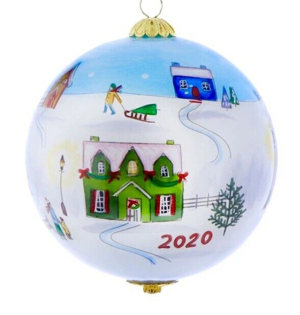 NEW 2020 LI BIEN CHRISTMAS VILLAGE GLASS 80 MM BALL ORNAMENT IN RED VELVET BOX