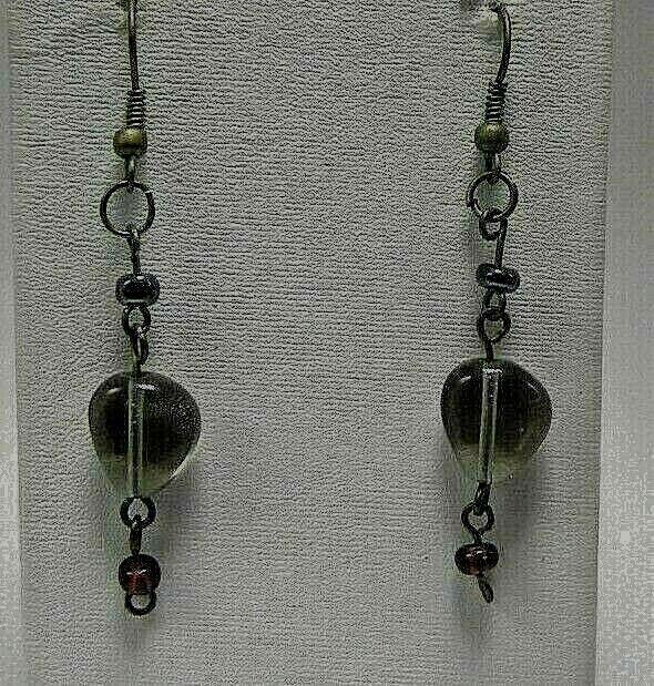 Vintage Pressed Green Glass Bronze 2 1/4 Dangle Hook EARRINGS USA SELLER - $4.29
