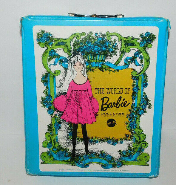 NEAT VINTAGE 1968 MATTEL WORLD OF BARBIE DOLL CARRY CASE - $19.95