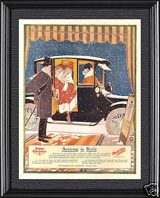 Antique '16 BAKER Electric Car STYLISH Woman Dress Opera Beauty ART NOUVEAU Ad