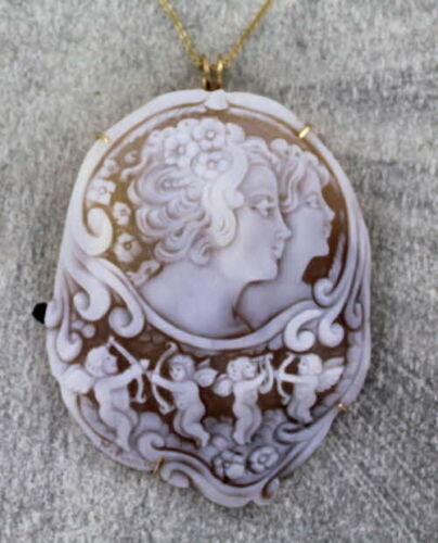 Sisters  Shell Cameo Pendant Necklace in 14kt rolled gold Wire Wrapped  - Cupids