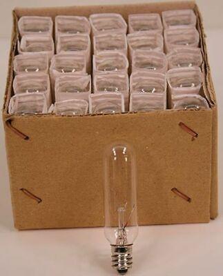 15 Watt Tubular Light Bulbs For Appliance, Chandelier, Salt Lamp - E12, 25 pack