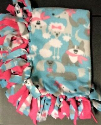 NEW Handmade Puppy Dog Blanket ~ Random Cute Puppy Dogs ~ Dark Pink Back