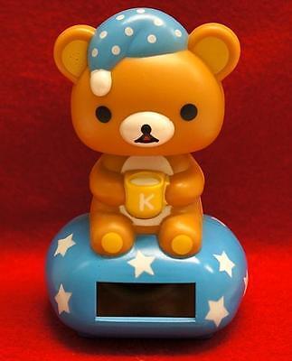 Nohohon Flip Flap Solar Powered Good Night Rilakkuma Teddy Bear  #A - Blue Color