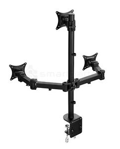 Lavolta Triple Monitor Mount Stand Arm Desk Clamp +/-15° Tilt 360° Rotate Swivel