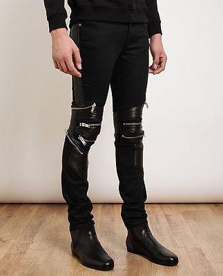Saint Laurent Men's Black Leather and Denim Skinny Biker Jeans Sz 28