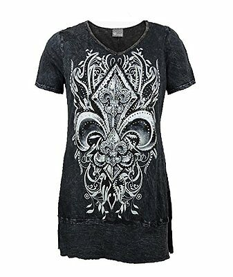 Vocal Women Plus Size Tunic Shirt Crystal Fleur Tribal V-Neck Cowgirl in Black  - Plus Size Cowgirl
