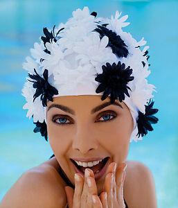 Ladies  Old Fashioned Petal Flower Style Swimming Hat Cap Retro Fashy 3454 Swim
