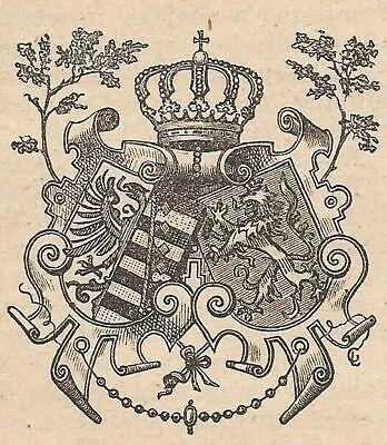 A4547 Escudo de la Alianza Alemana - Grabado - Grabado antiguo de...