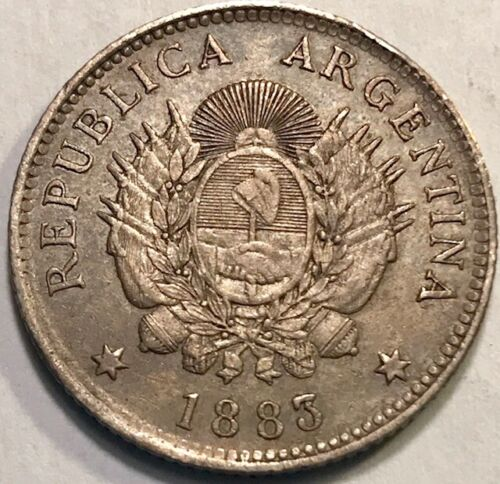 ARGENTINA - Silver 20 Centavos - 1883 - KM-27 - Toned Ch. Brilliant Uncirculated