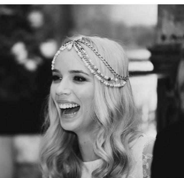 Bridal Hair Goddess Vintage Jeweled Headpiece Forehead Hobo Bohemian Headdress