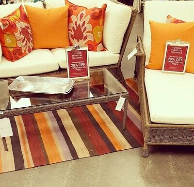 Pottery Barn Gunner Stripe Rug Orange Rust 5x8 Southwest Dhurri New Summer - Orange Chevron Rug