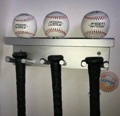 - Baseball Bat Rack Display Holder 5 Full Size Bats 3 Balls Silver Wall Mount
