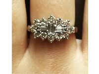 Diamond Cluster Ring, Engagement, 18ct White Gold