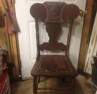 Mahogany chair with leather accents